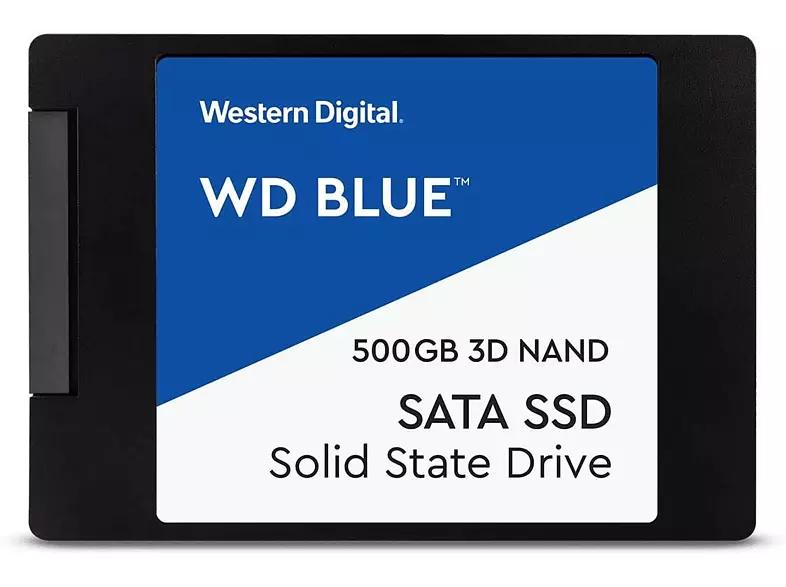 Disco duro interno 500 GB - WD Blue 3D NAND WDBNCE2500PNC, SSD, Para Windows, 530 MB/s, Negro/Azul