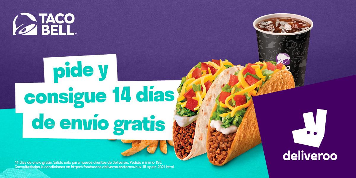 14 días de gastos de envío gratis en Taco Bell en Deliveroo (nuevos clientes de Deliveroo)