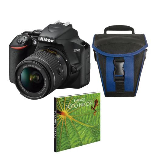 Nikon 3500 + Objetivo AF-P DX 18-55 + estuche + ebook nikon de fotografía