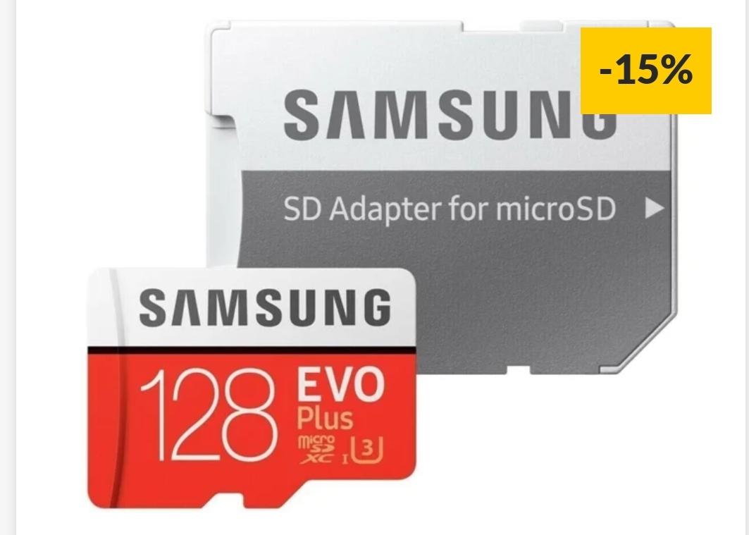 Tarjeta de Memória MicroSDXC SAMSUNG Evo Plus (128 GB - 100 MB/s - C10) + Adaptador