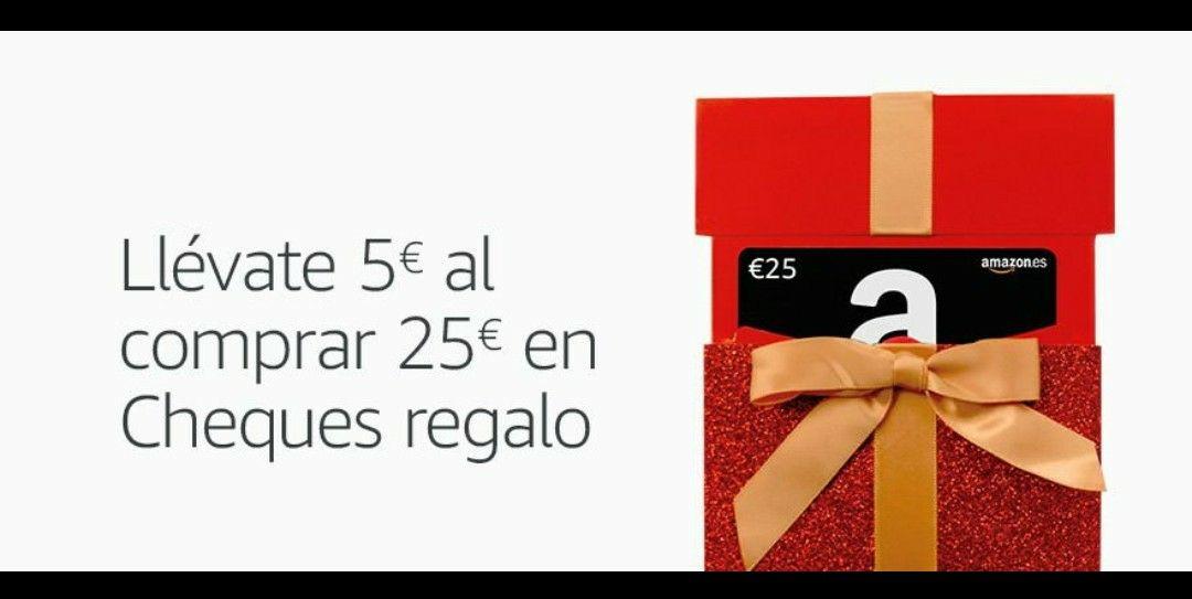 5€ gratis al comprar un cheque de 25€ en Amazon