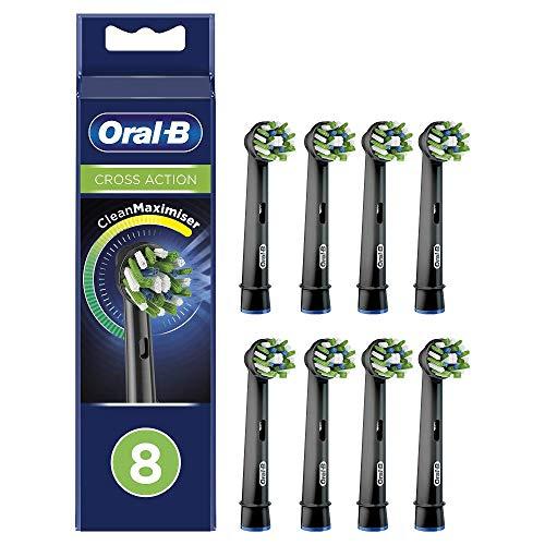 Oral-B CrossAction Cabezales de recambio con tecnología CleanMaximiser Black Edition, Pack de 8