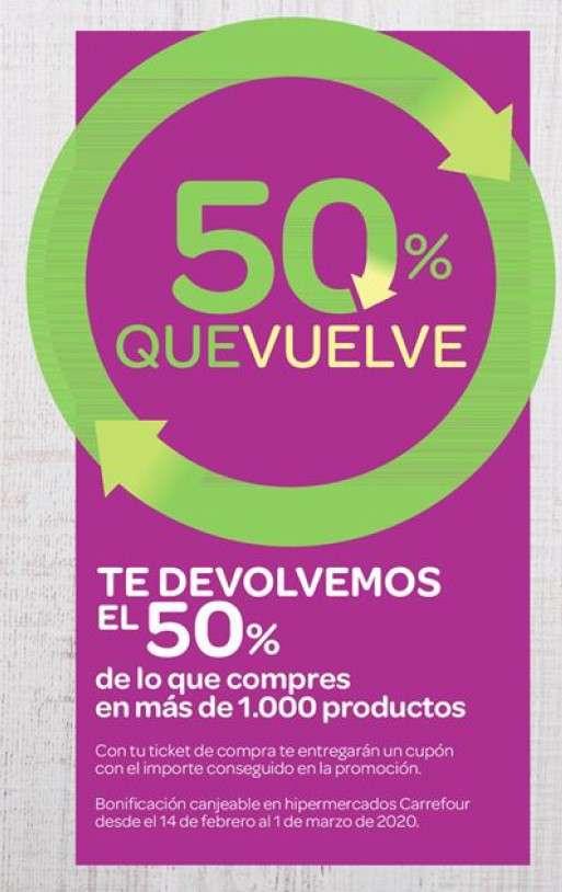 50 % que vuelve en Carrefour y 3x2 en más de 5000 artículos.