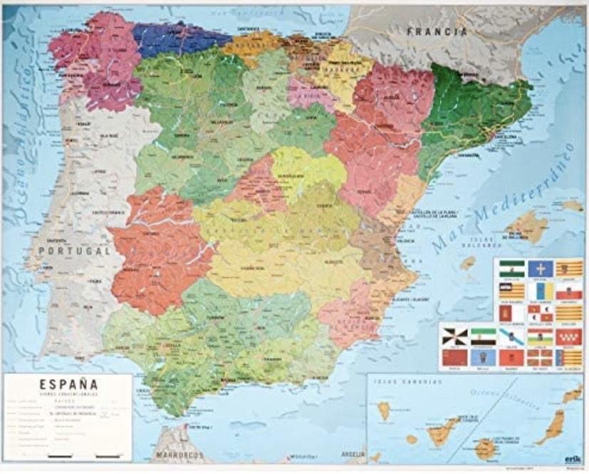 Grupo Erik Editores - Mini póster mapa de España, 40 x 50 cm