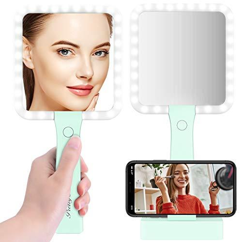 Espejo de maquillaje con aumento y luz LED