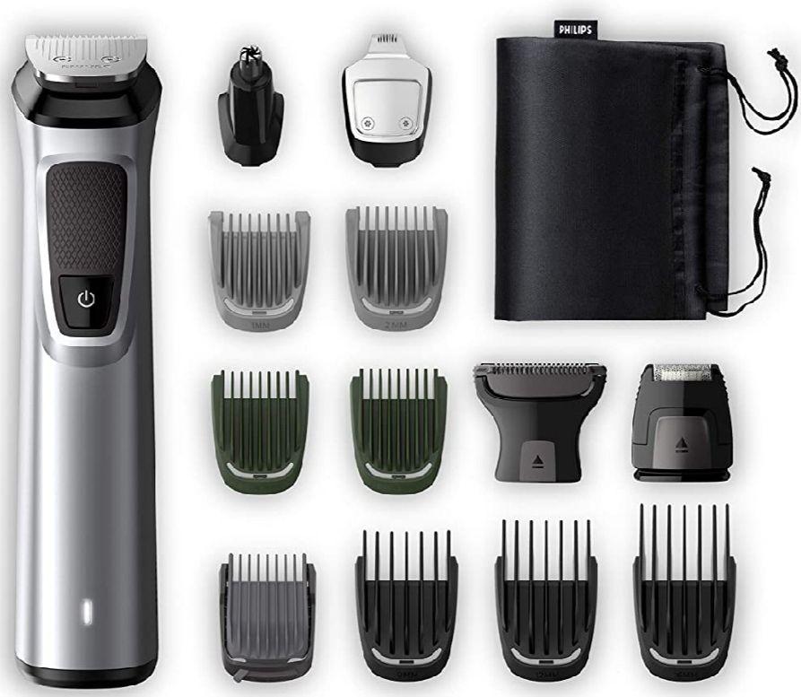 PHILIPS- Recortadora de barba, cuerpo y cortapelos Philips serie 7000 14 en 1 + funda de viaje