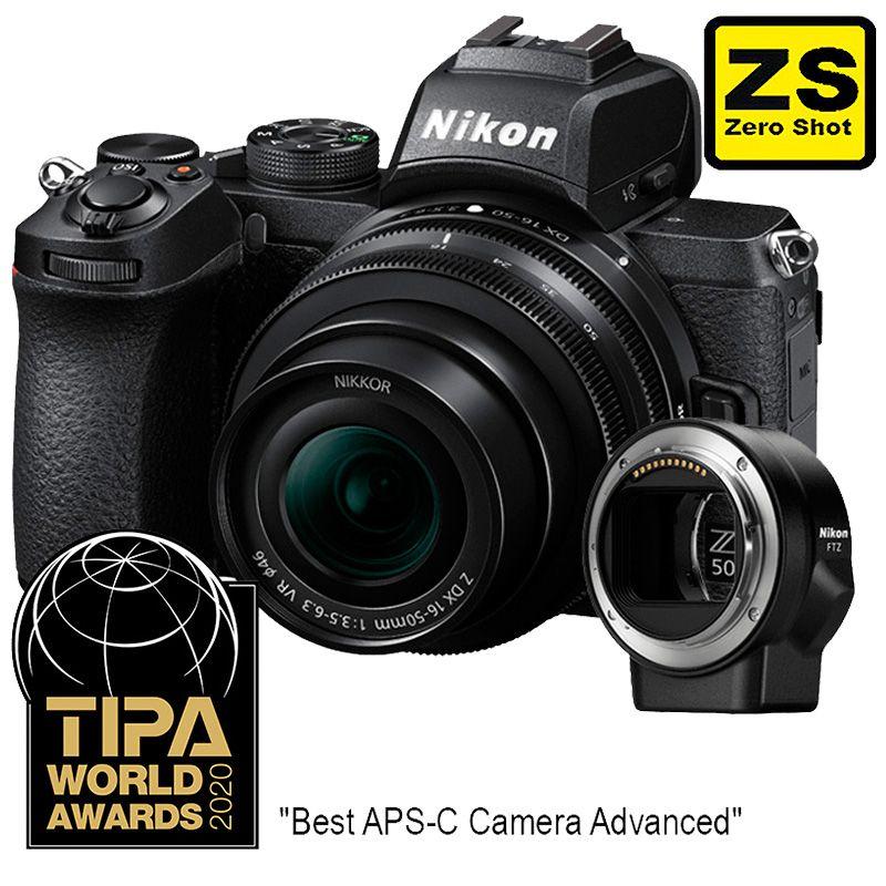Cámara Nikon Z 50 + Objetivo NIKKOR Z DX 16-50mm f3.5-6.3 VR + Adaptador FTZ (Zero Shot)