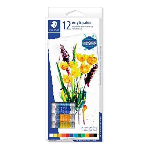 STAEDTLER Karat 8500 C12. Tubos de pintura acrílica. Caja con 12 tubos de pintura de colores variados.