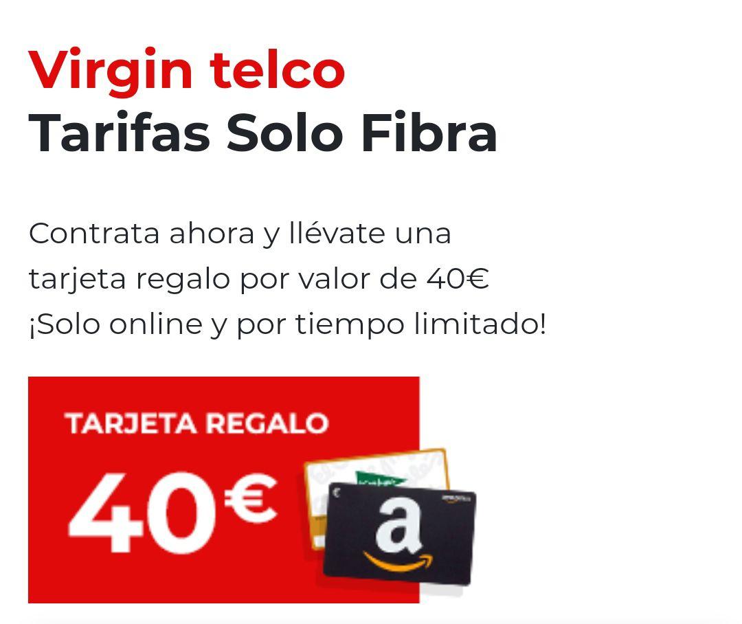 300MB de Fibra + 40€ en tarjeta regalo Amazon por sólo 33€