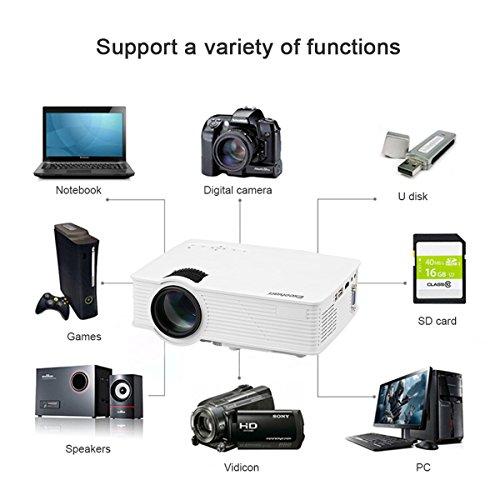 "Excelvan EHD09 - Mini LED Proyector Portátil (800x480, 1200 Lúmenes, Bateria externa, Proyeccion 32"" - 120"", 4:3 16:9, 800:1, HDMI/USB/SD/AV/VGA, Cable HDMI Incluido) Blanco"