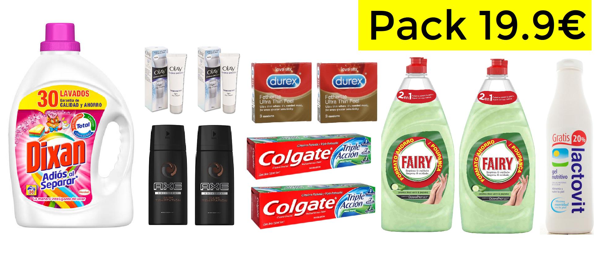Pack productos higiene y limpieza solo 19.9€