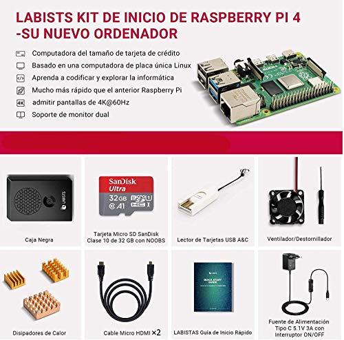 KIT Raspberry Pi 4 4GB + 32Gb [Tarjeta micro SD, carcasa, etc]