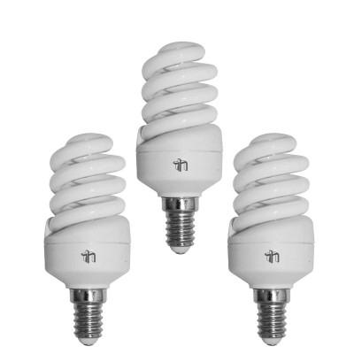 Pack 3 Bombillas CFL Bajo Consumo Mini Espiral E14 15W 900lm 2700K Merylux