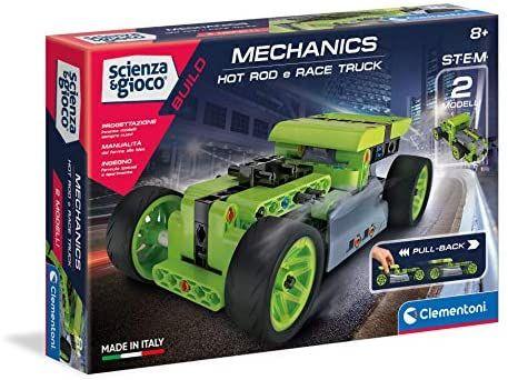 Clementoni - Ciencia Build-Hotrod y Race Truck Pullback, Juego de construcción, Laboratorio mecánico