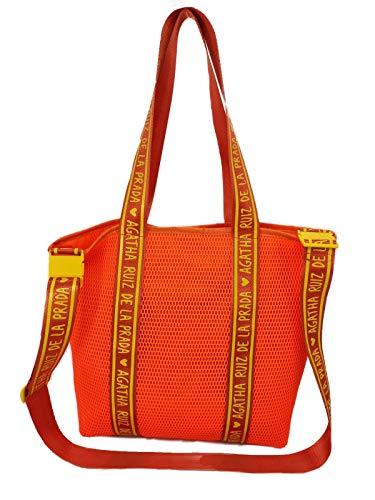Agatha Ruiz de la Prada Bolso de mujer bandolera naranja con asa para hombro