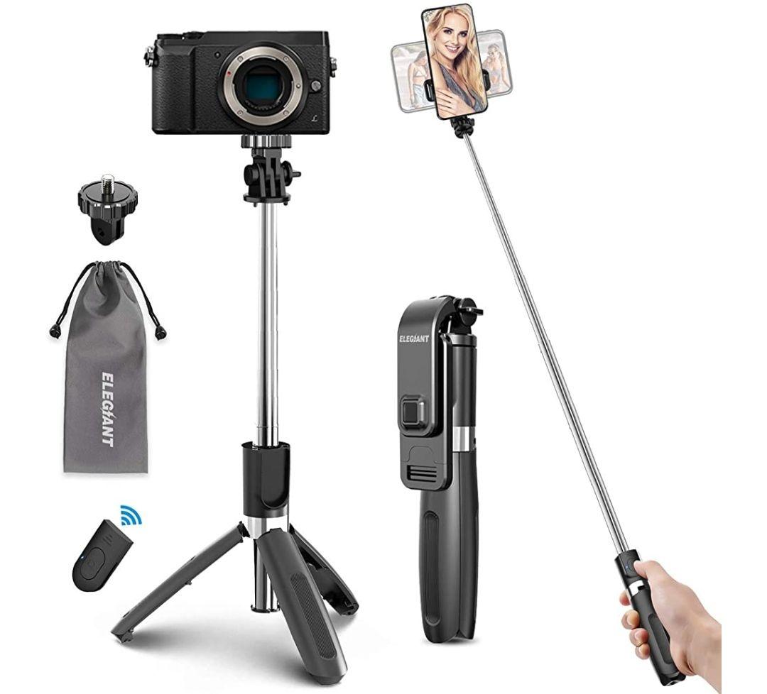 Trípode Bluetooth, 4 en 1 Selfie Stick Móvil con Control Remoto Inalámbrico