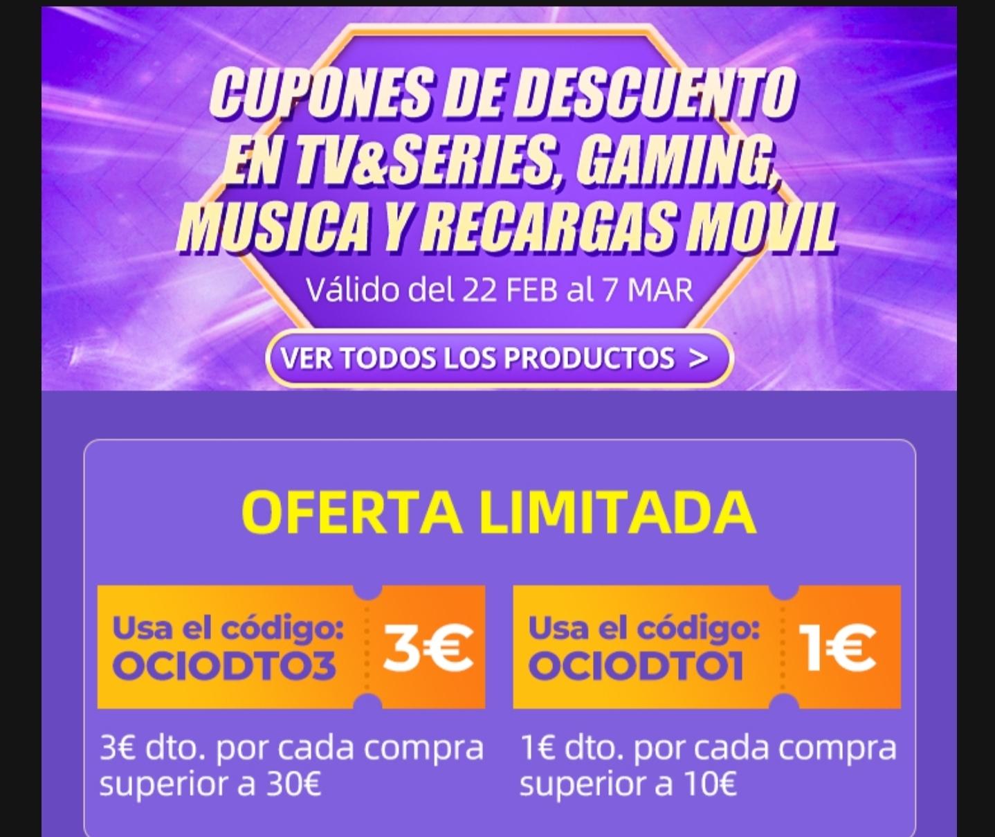 Cupones descuento AliExpress en TV&Series, Gaming, Música y recargas móvil.