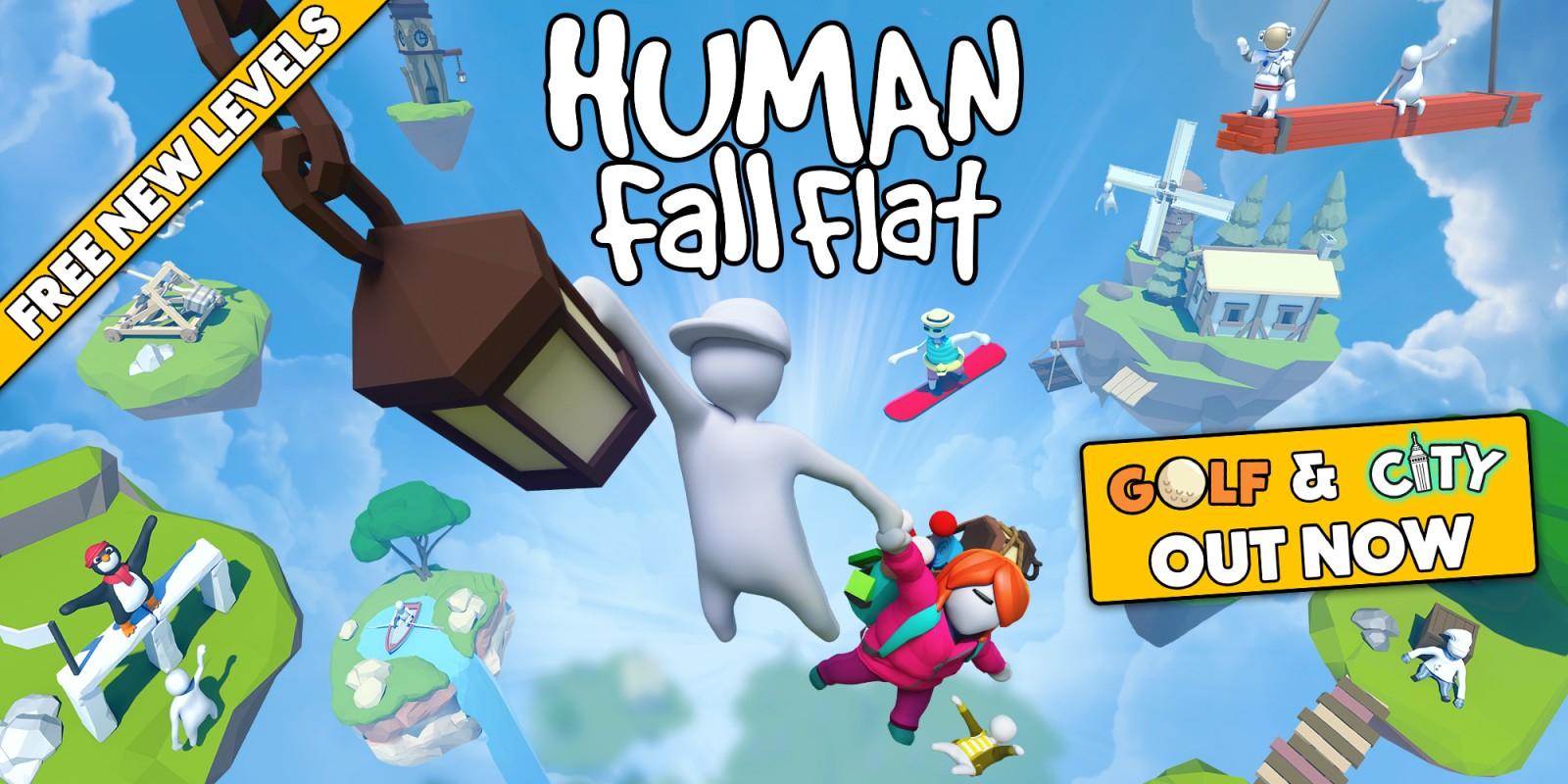 Human: Fall Flat para switch.NUEVOS NIVELES «GOLF» Y «CIUDAD», ADEMÁS DE LA SKIN «BEBÉ»,