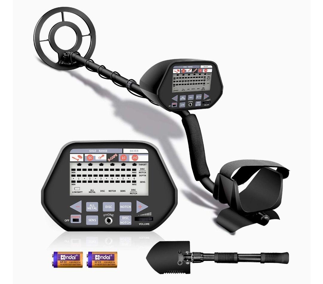 Detector de Metales,3 Modos Opcionales,Bobina de búsqueda Impermeable de Alta precisión,Ajustable en Altura de 100-135 cm,Pantalla LCD