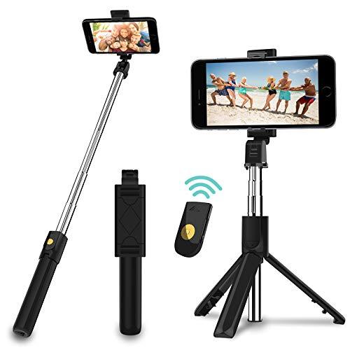 Palo Selfie Trípode con Control Remoto, 3 en 1 Bluetooth Mini Monópode Extensible Selfie Stick para teléfonos Inteligentes iPhone y Andriod