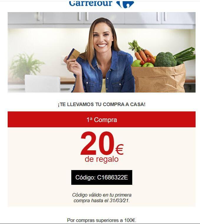 20€ de descuento en cualquier compra, en 1ª compra y 15€ para segunda compra en Carrefour.