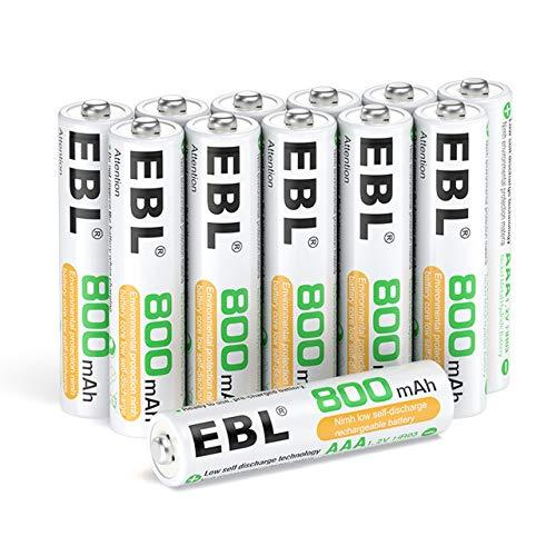 EBL 12 x Pilas AAA Recargables Ni-MH 800mAh Baja Autodescarga