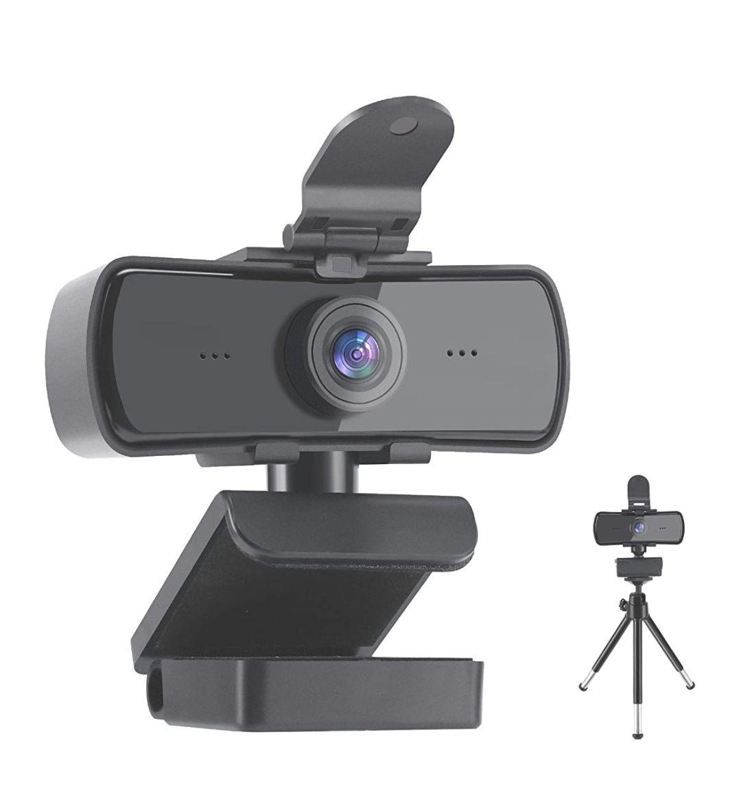 Webcam con micrófono,2K HD 1440P transmisión con Cubierta de privacidad y trípode USB Plug and Play