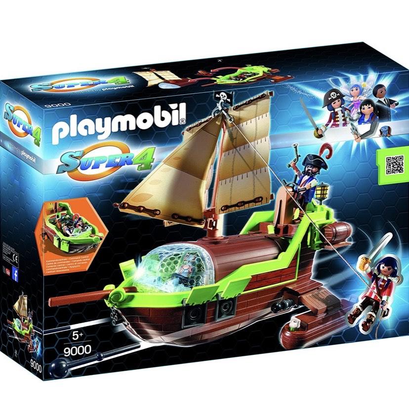 PLAYMOBIL-Pirata Camaleón con Ruby y un Barco Personajes de la serie Super 4