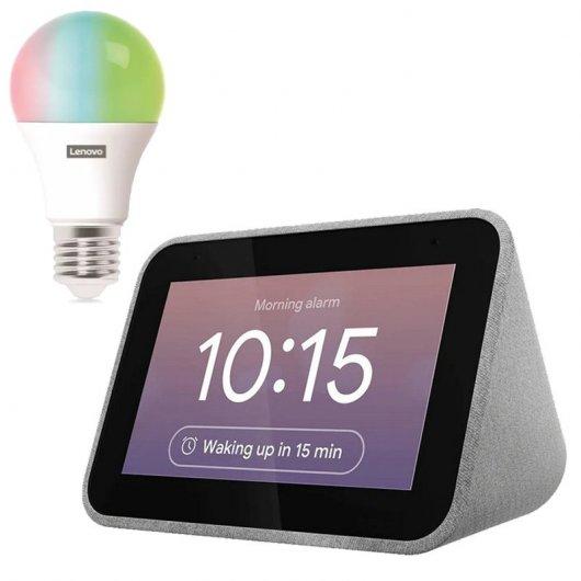 Pack Lenovo Smart Clock con Asistente de Google Gris + Smart Bulb LED por 44,99 €