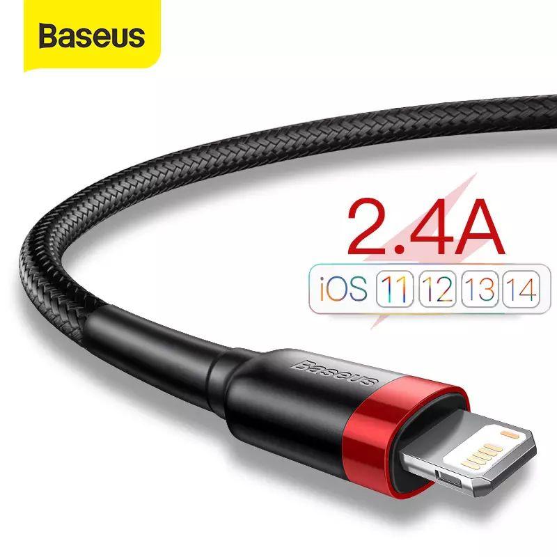 USB para iPhone 12 11 Pro Max X Xs 8 Plus Cable 2.4A rápida