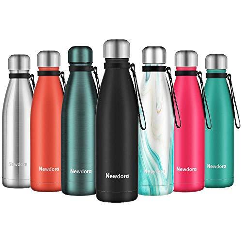 Botella de Agua Acero Inoxidable 500ml, Aislamiento de Vacío de Doble Pared, con 1 un Cepillo de Limpieza