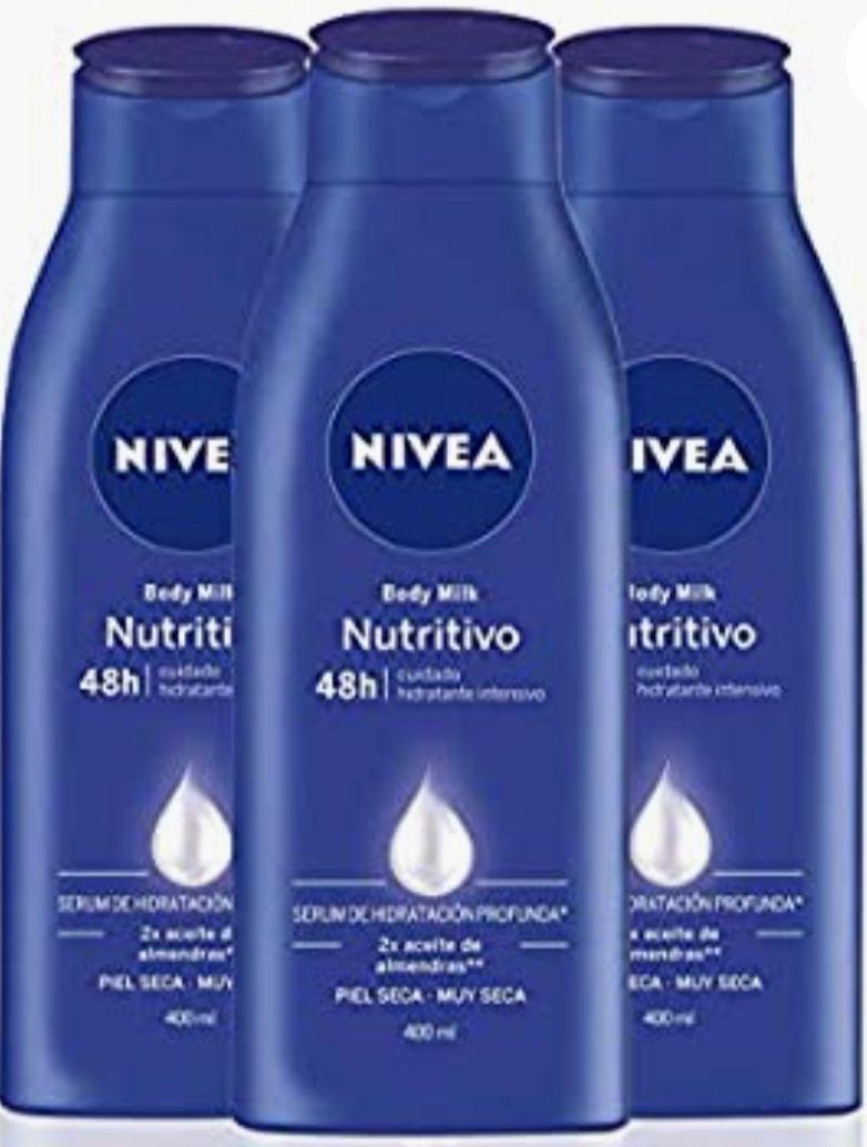 (3 x 400ml) NIVEA Body Milk Nutritivo. Crema hidratante corporal con aceite de almendras