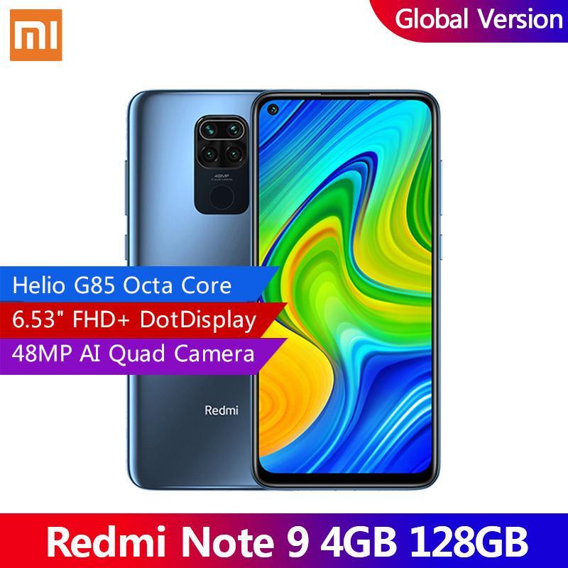 "Versión global Xiaomi Redmi Note 9 4GB 128GB Smartphone Helio G85 Octa Core 48MP Cámara trasera cuádruple 6.53 ""Dotdisplay 5020mAh"