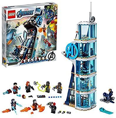 LEGO 76166 Marvel Los Vengadores Batalla en la Torre de los Vengadores con Iron Man, Viuda Negra & Cráneo Rojo, Set de Juguete