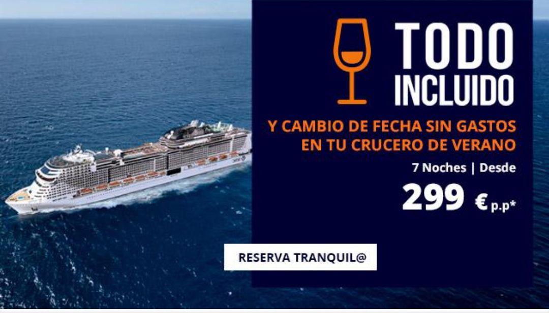 Ofertas en Cruceros (todo incluido) para el Verano desde sólo 299€ p.p (7 noches) + Cambios de fecha GRATIS + opción de cancelación gratis