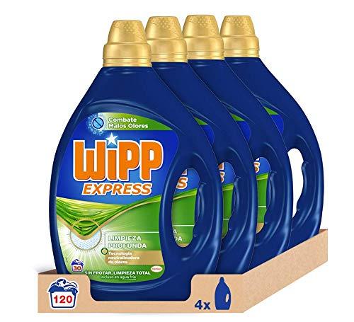 Wipp Express Detergente Líquido Antiolores. Pack de 4 (120 Lavados)