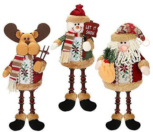 3 Piezas de Papá Noel, Muñeco de Nieve, Reno Sentado de Navidad