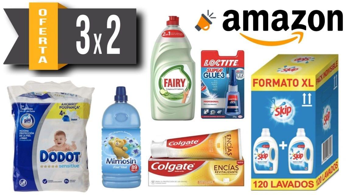 3×2 en Amazon en selección de productos del hogar y salud.