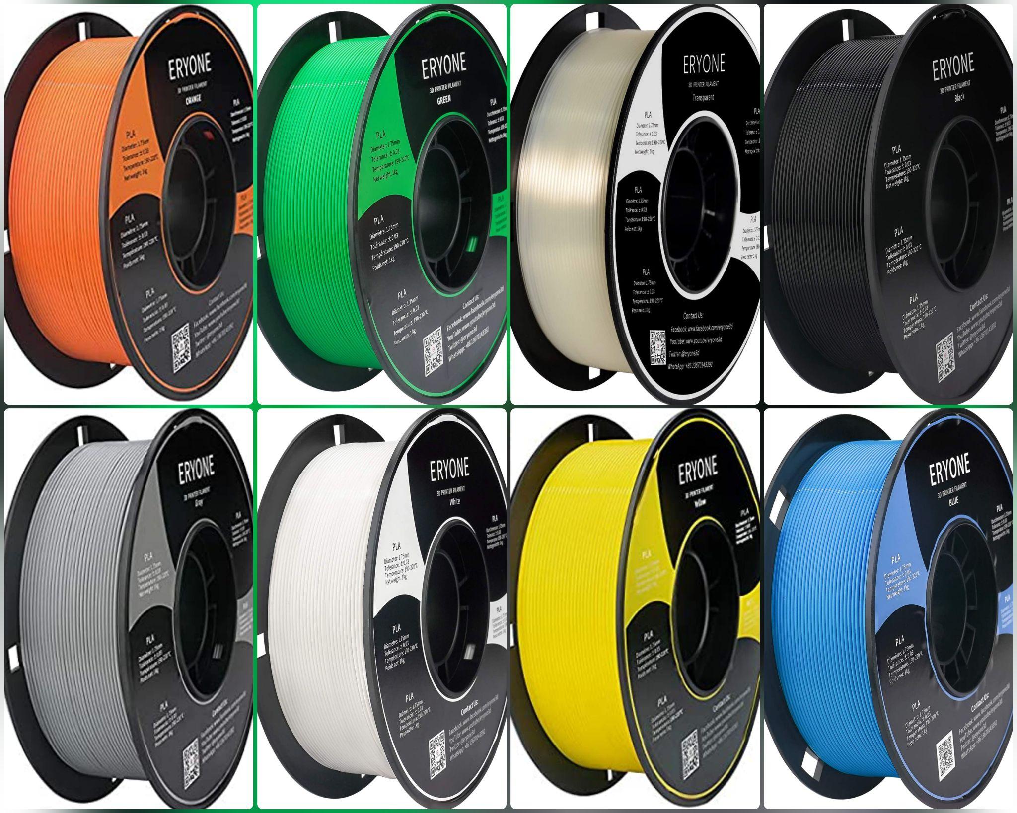 Filamento Eryone PLA 1.75mm, 1kg para Impresión 3D en 8 colores. Marca Top