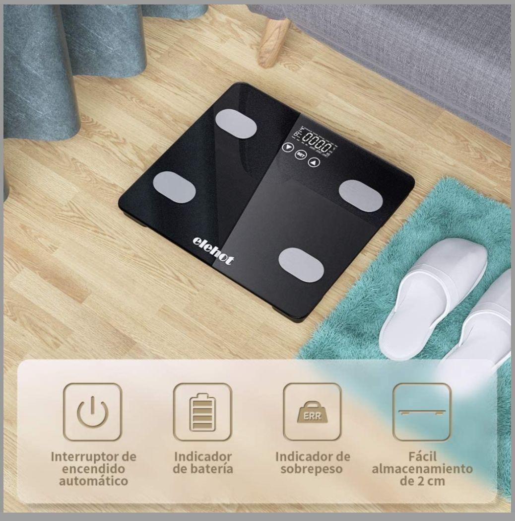 Bascula Grasa Corporal Digital Adecuado para Peso Óseo y Muscular IMC Agua Calorías y Proteínas de ELEHOT