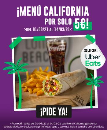 Taco Bell, Menú California Grande por 5 euros, sólo con Uber Eats