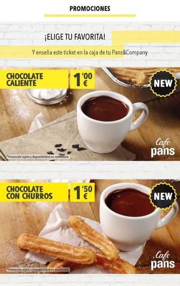 Pans&Company: Chocolate a la taza por 1€, Chocolate + 3 Churros por 1.50€ con la app