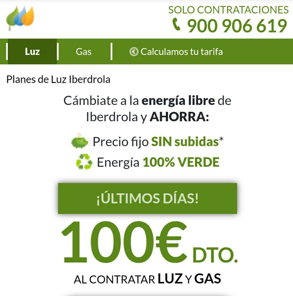 100€ de Dto en Iberdrola