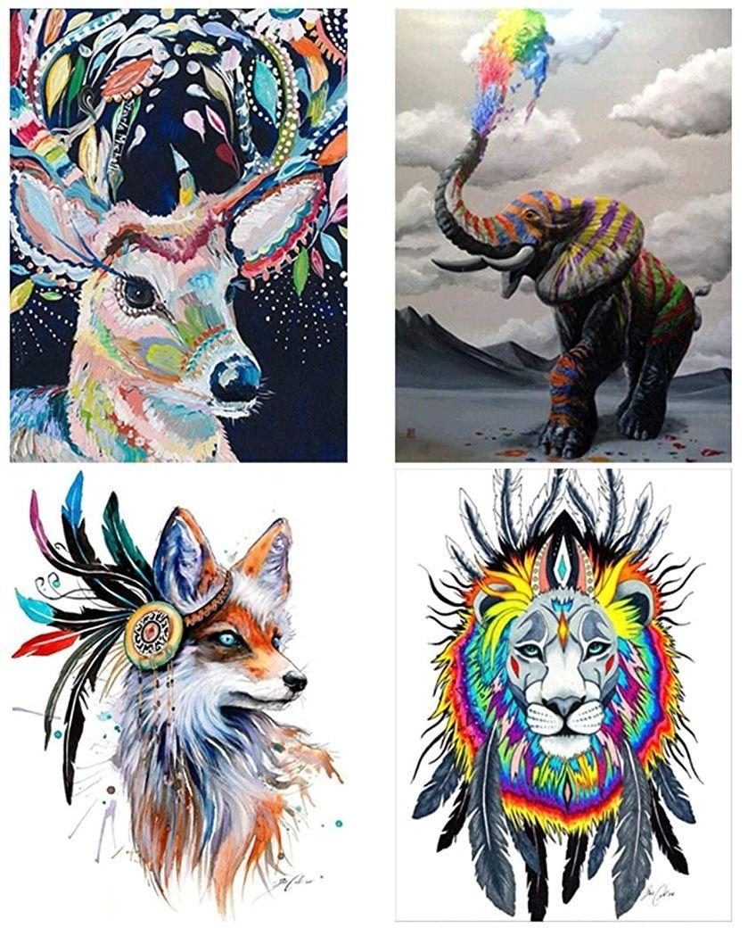 4Unidades Kits de Bricolaje de Pintura de Diamante 5D Animal,BordadoPunto de Cruz,11,81x15,75 Pulgadas