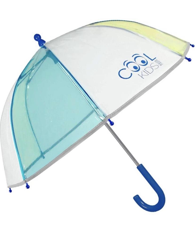 Paraguas Transparente Niño Azul Amarillo con Ribete Reflectante Antiviento