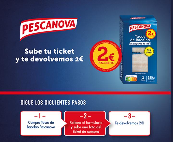 Reembolso 2€ Tacos de Bacalao Pescanova