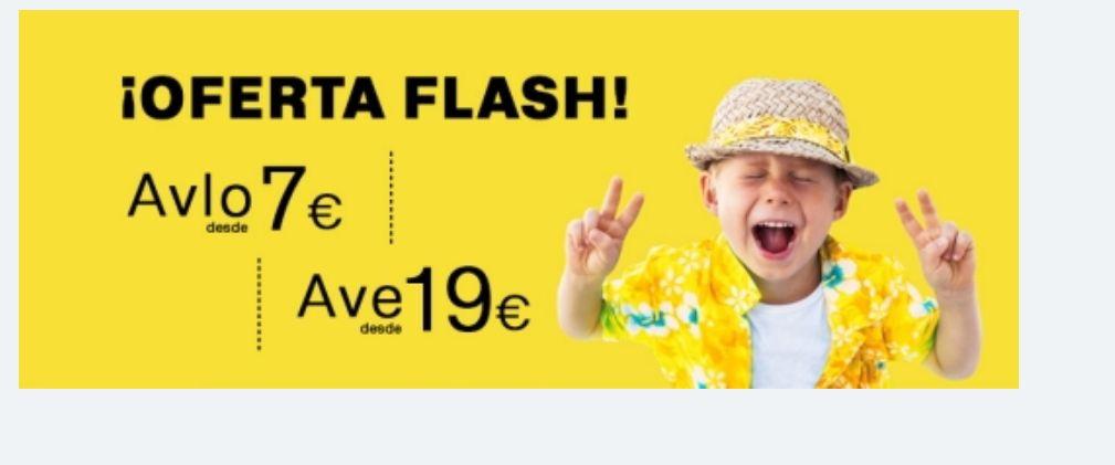 Oferta Flash BILLETES AVE RENFE A TODOS LOS DESTINOS ¡Solo hasta el 8 de marzo! AVE desde 19€ y AVLO desde 7€