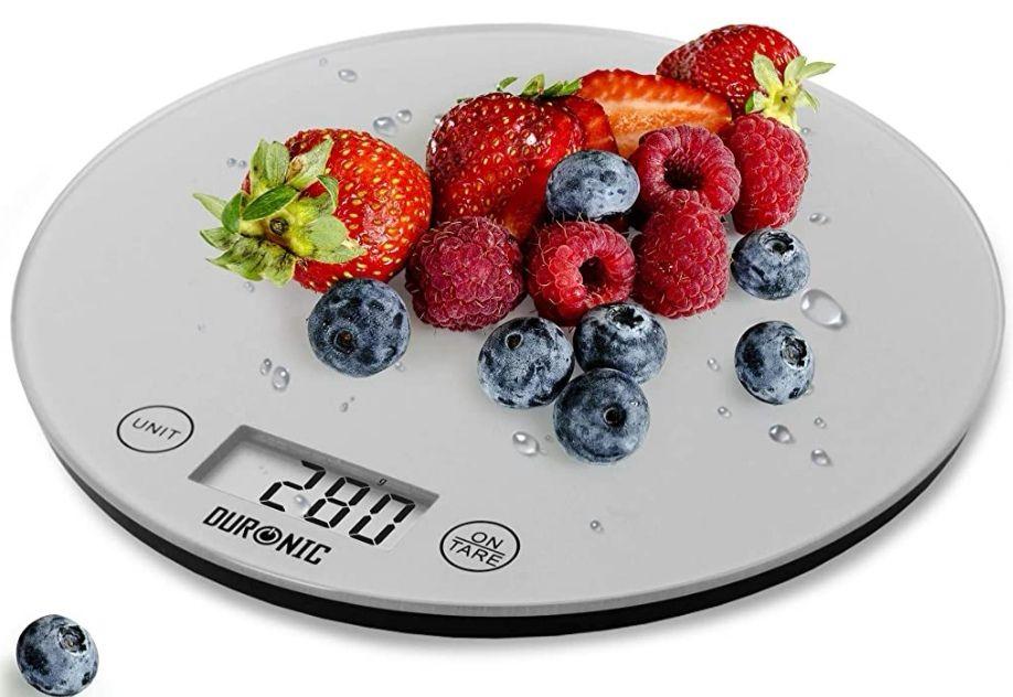 Báscula de cocina digital. Pantalla LDC con lectura de dígitos. Función tara. Color gris