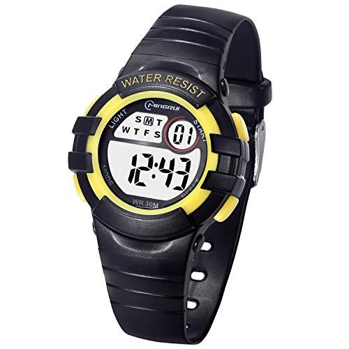 Reloj Digital Deportivo para Niñ@s,Multifunción con Pantalla LED Impermeable color Negro-Amarillo.