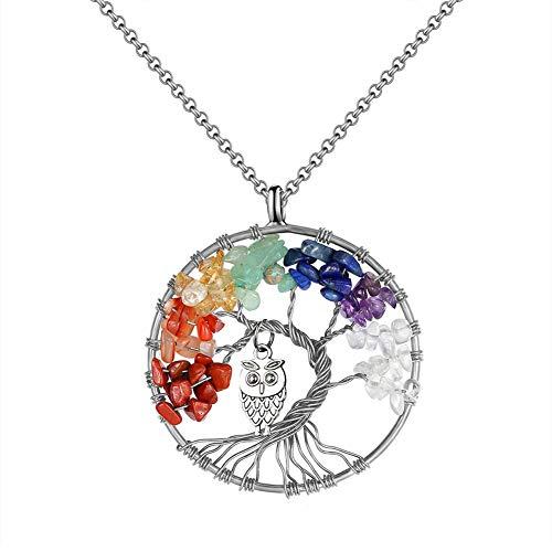 Colgante, de árbol de vida, con piedra de cristal colorido, con un búho